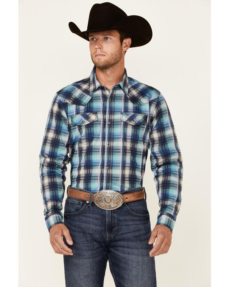Cody James Men's Mission Large Plaid Long Sleeve Snap Western Shirt , Blue, hi-res