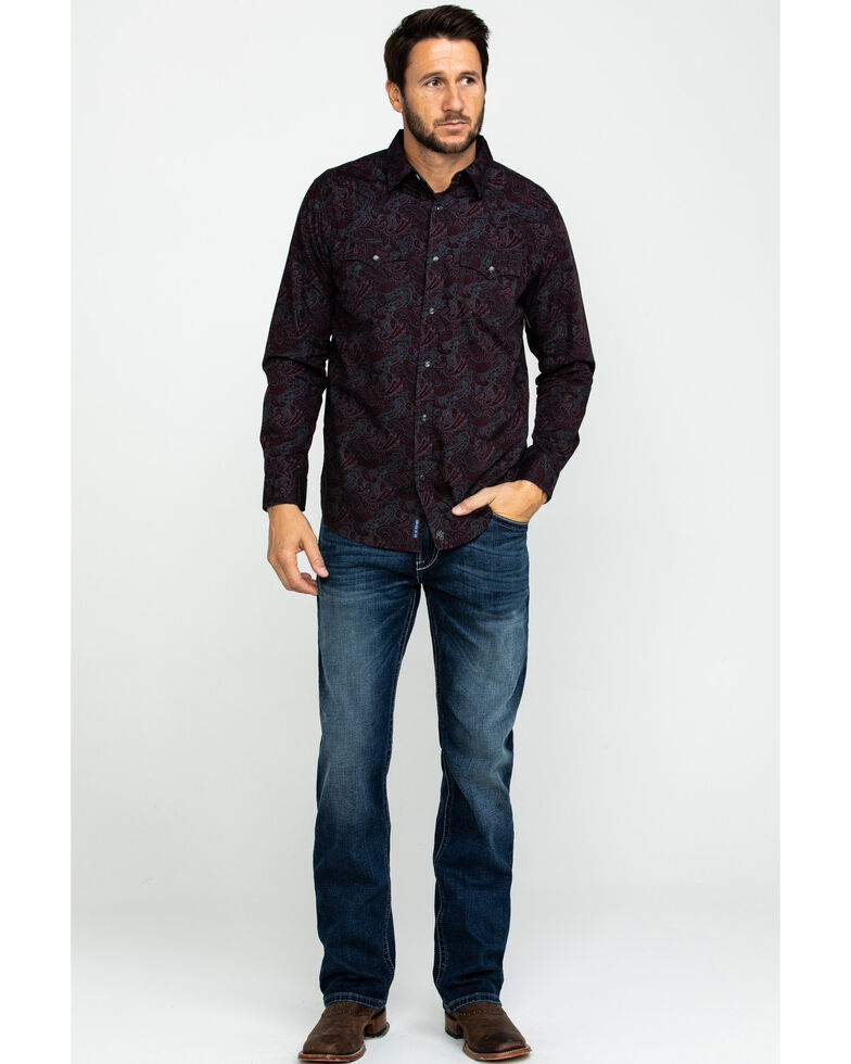 Moonshine Spirit Men's Punk Paisley Print Long Sleeve Western Shirt , Maroon, hi-res
