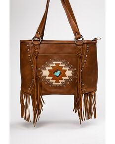 Montana West Brown Aztec Fringe Tote, Brown, hi-res