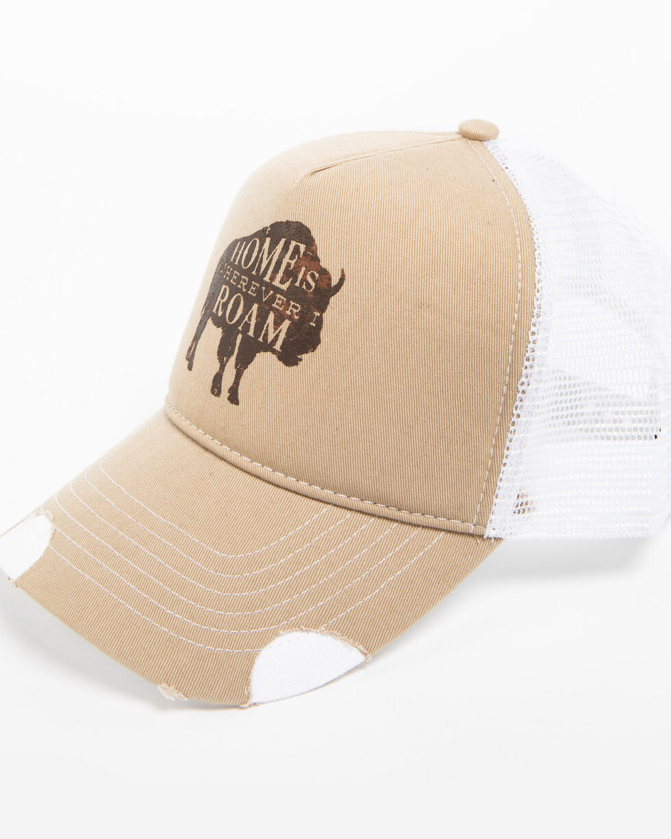Cody James Men's Wherever I Roam Buffalo Trucker Hat, Beige/khaki, hi-res