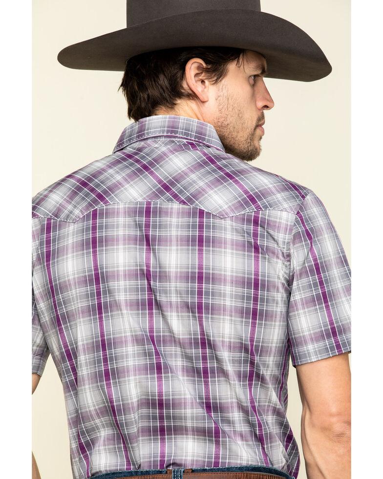 Wrangler Men's Purple Dobby Plaid Fashion Snap Short Sleeve Western Shirt , Purple, hi-res