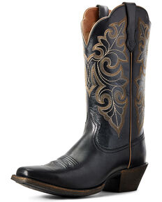 Ariat Women's Round Up Western Boots - Square Toe, Black, hi-res