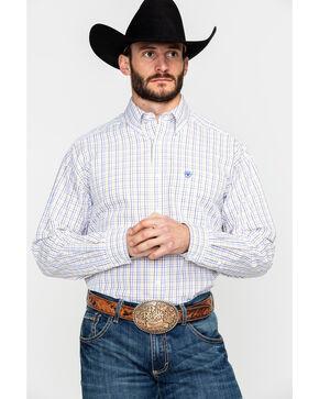 Ariat Men's Ludlow Plaid Long Sleeve Western Shirt , White, hi-res