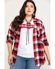 Derek Heart Women's Cotton Flannel Plaid Tab Sleeve Shirt - Plus, Multi, hi-res