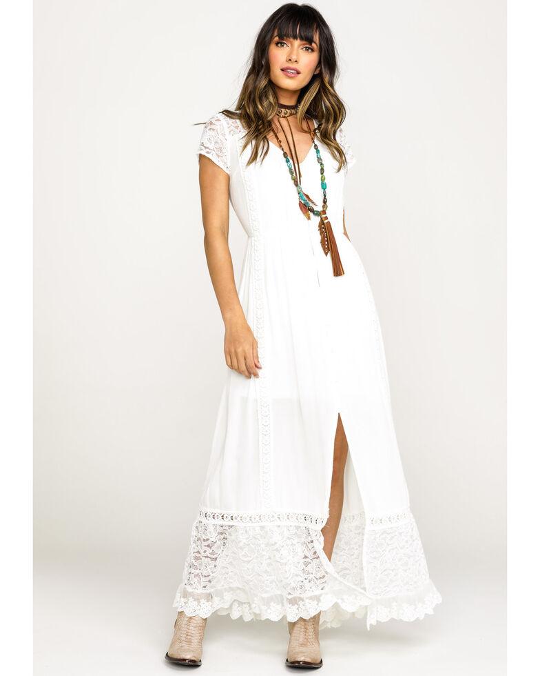 Band of Gypsies Women's White Bermuda Button Down Maxi Dress, White, hi-res