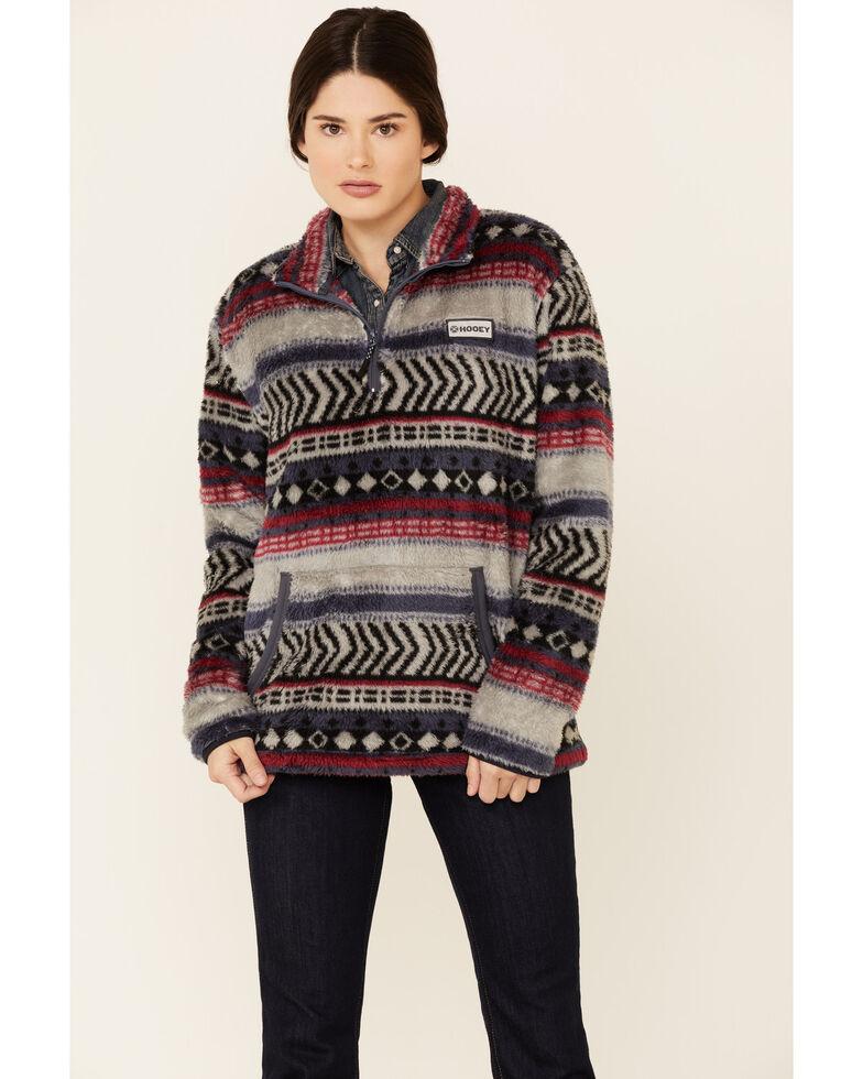 HOOey Women's Tan Aztec Stripe Fleece Lined 1/4 Zip Pullover , Tan, hi-res