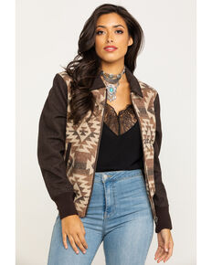 Cripple Creek Women's Brown Navajo Blanket Bomber Jacket , Brown, hi-res