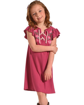 Derek Heart Girls' Flutter Sleeve Trapeze Dress , Magenta, hi-res
