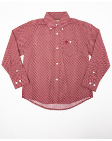 Wrangler Boys' Deep Red Geo Print Long Sleeve Western Shirt , Red, hi-res