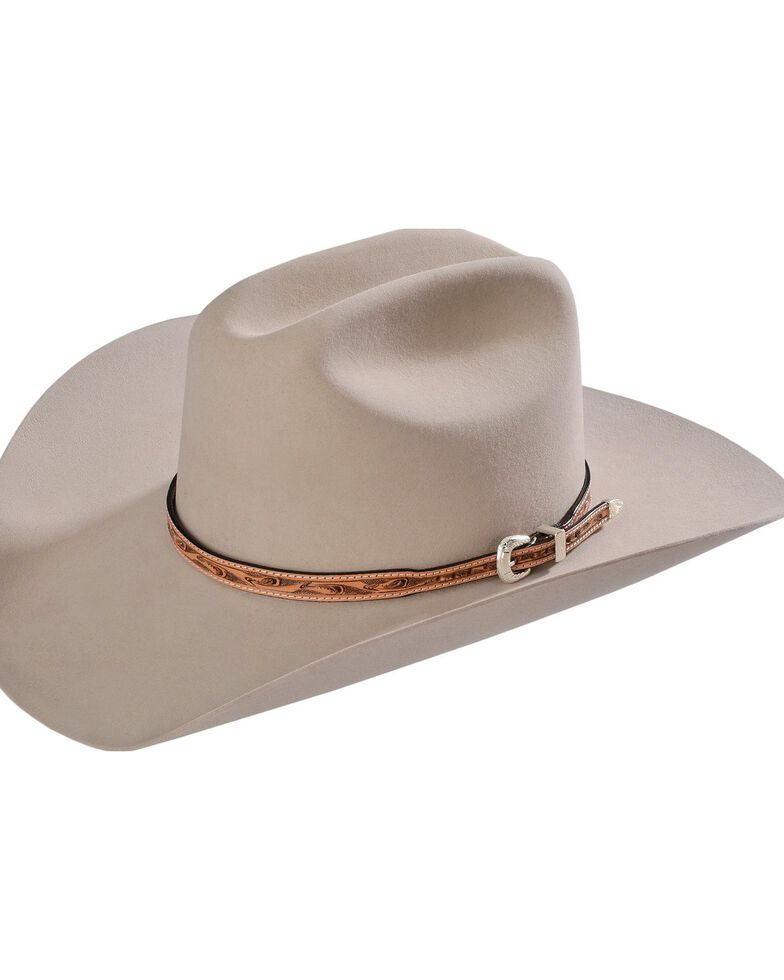Embossed Leather Hat Band, Natural, hi-res