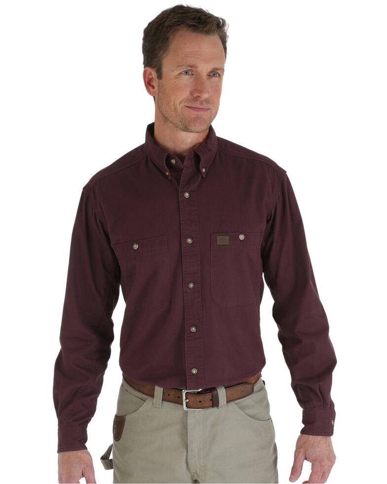 Wrangler Riggs Twill Work Shirt, Burgundy, hi-res