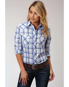 Karman Women's Light Blue Plaid Long Sleeve Western Shirt, Blue, hi-res