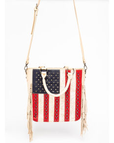Shyanne Women's 'Merica Crossbody Tote, Tan, hi-res