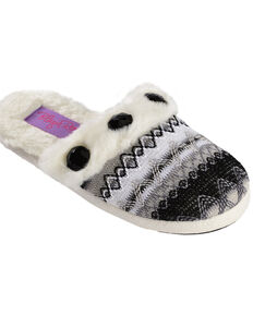 Blazin Roxx Girls' Colorful Woven Scuff Slippers, Blk/white, hi-res