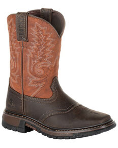 Rocky Youth Boys' Ride FLX Western Boots - Square Toe, Chocolate, hi-res