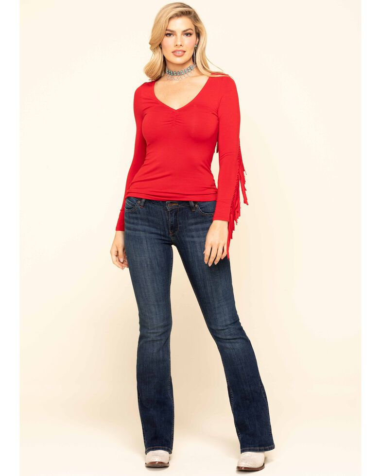 Idyllwind Women's Red Free Flying Fringe Top, Red, hi-res
