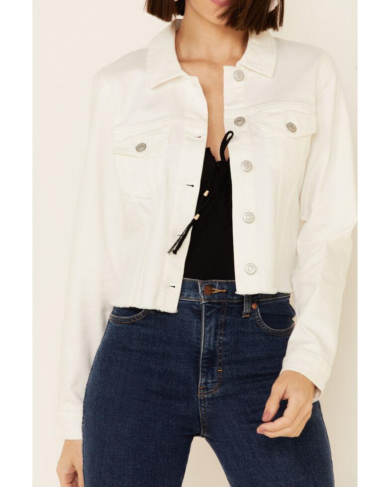Shyanne Women's White Crochet Back Button-Down Crop Jacket , White, hi-res