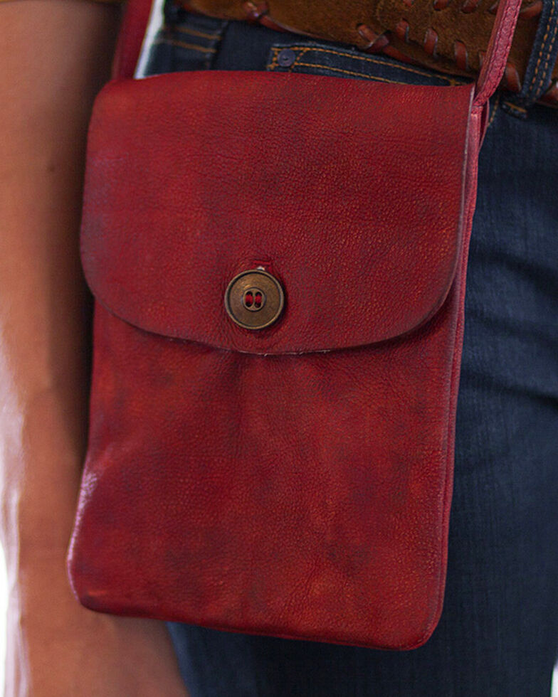 Ryan Michael Women's Red Cross Body Leather Bag , Red, hi-res
