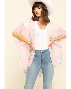 Red Label by Panhandle Women's Pink Cactus Chiffon Kimono, Pink, hi-res
