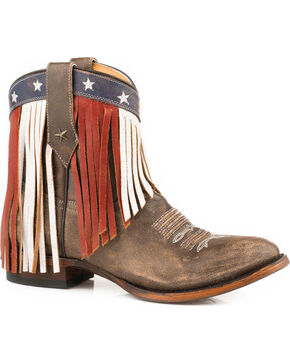 Roper Women's Patriotic Fringe Short Cowgirl Boots - Round Toe, Brown, hi-res