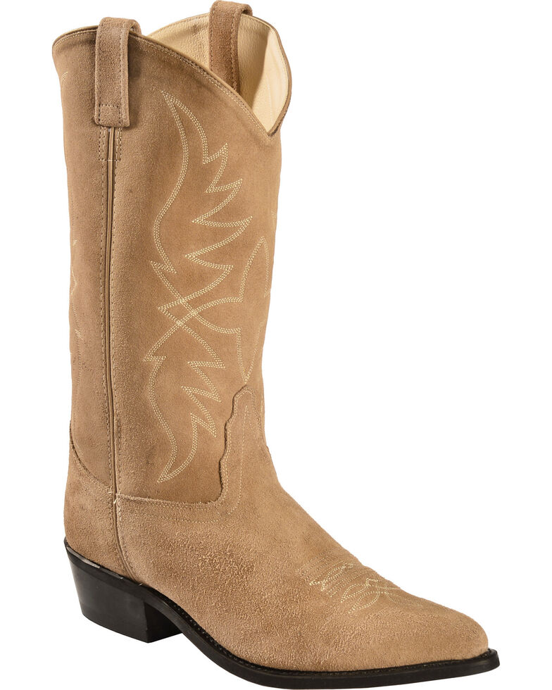 Old West Roughout Suede Cowboy Boots - Pointed Toe, Natural, hi-res