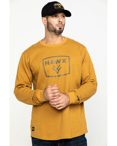 Hawx® Men's Brown Box Logo Graphic Thermal Long Sleeve Work Shirt , Brown, hi-res