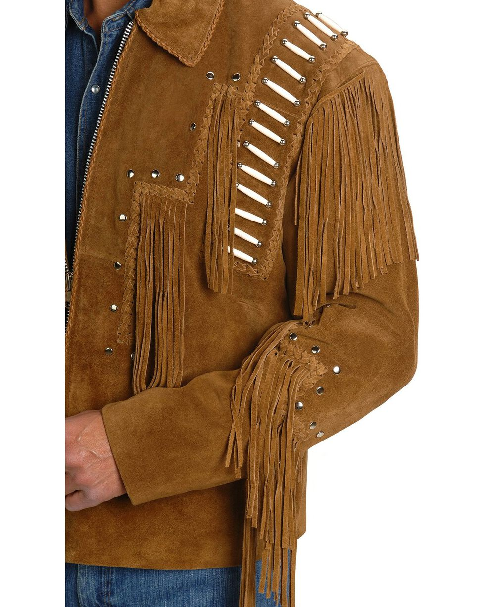 Liberty Wear Bone Fringed Leather Jacket, Tobacco, hi-res