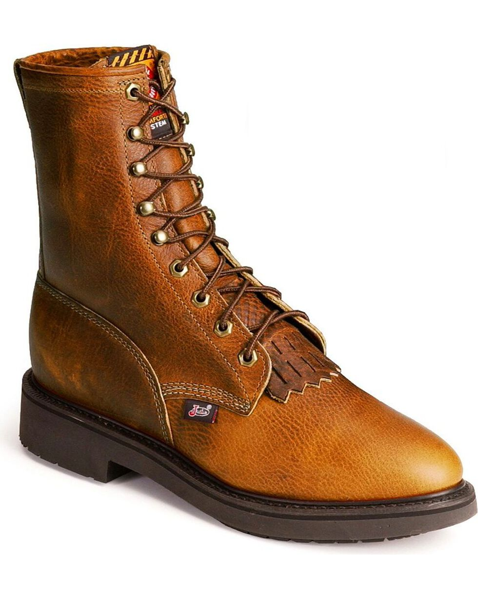 Justin Men's Lace Up Work Boots, Copper, hi-res