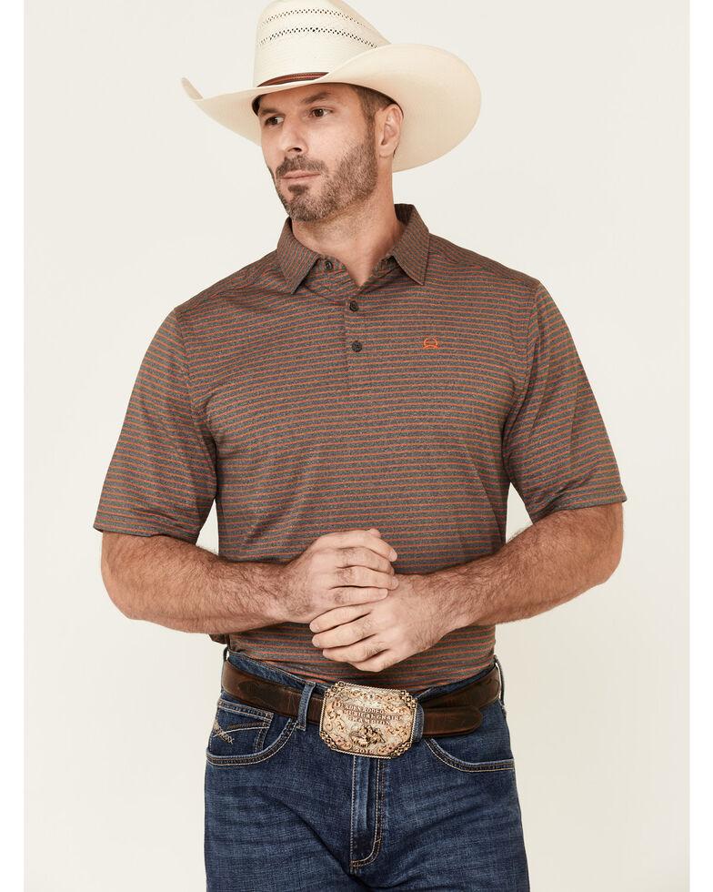 Cinch Men's ArenaFlex Charcoal Striped Short Sleeve Polo Shirt  , Charcoal, hi-res