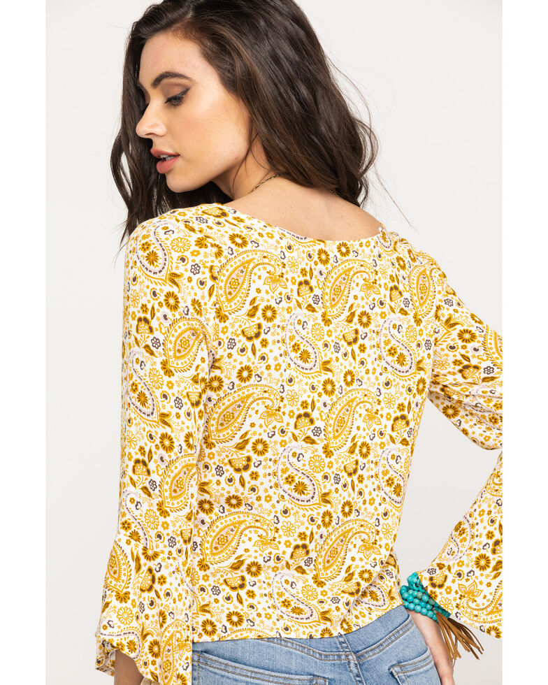 Shyanne Women's Mustard Paisley Patchwork Bell Sleeve Top, Dark Yellow, hi-res
