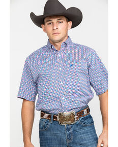 Ariat Men's Phoenix Stretch Geo Print Short Sleeve Western Shirt , White, hi-res