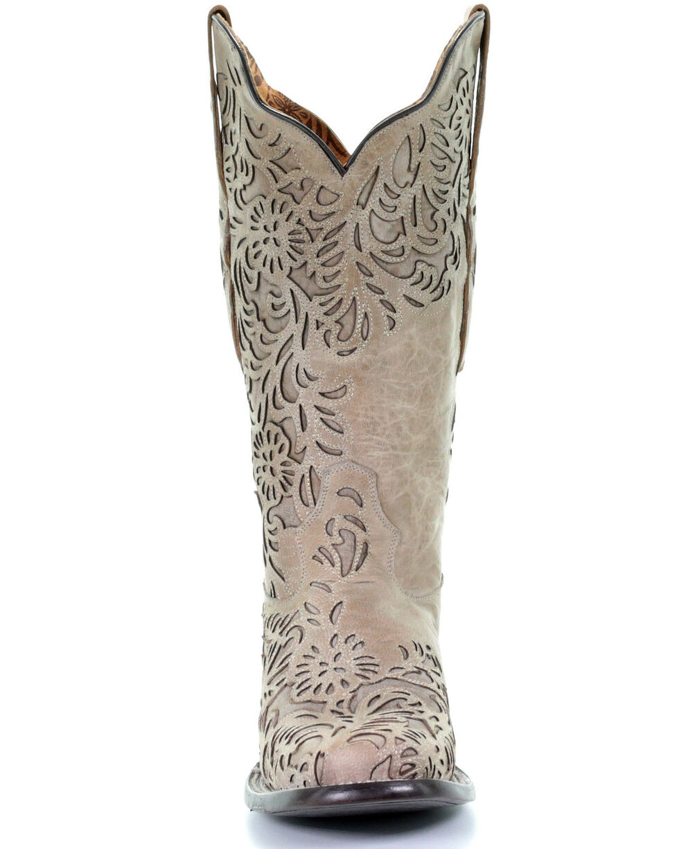Corral Women's Bone Full Inlay Western Boots - Square Toe, Ivory, hi-res