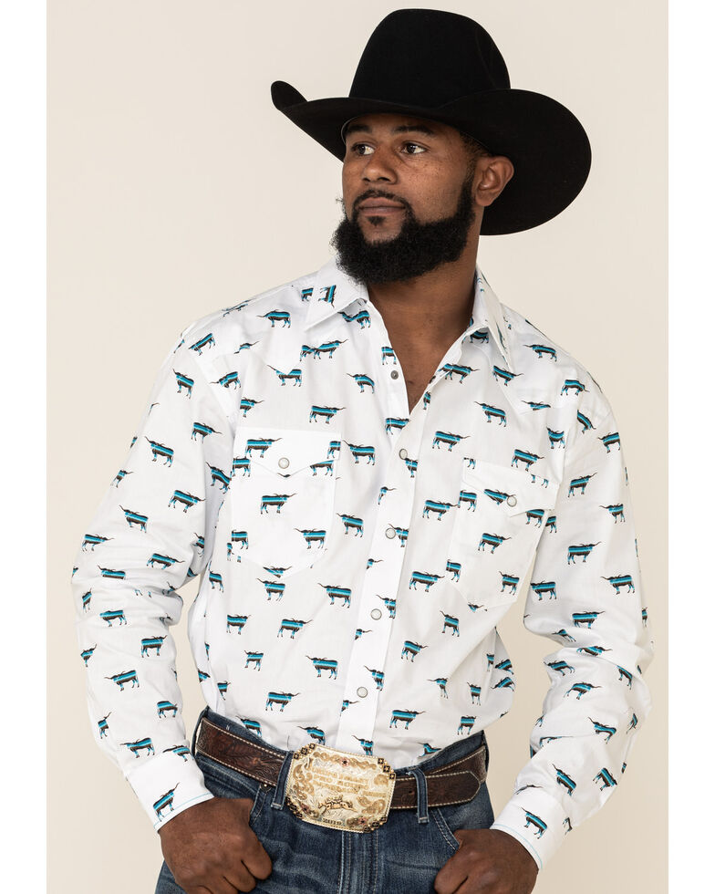 Rough Stock By Panhandle Men's El Toro Bull Geo Print Long Sleeve Western Shirt , White, hi-res