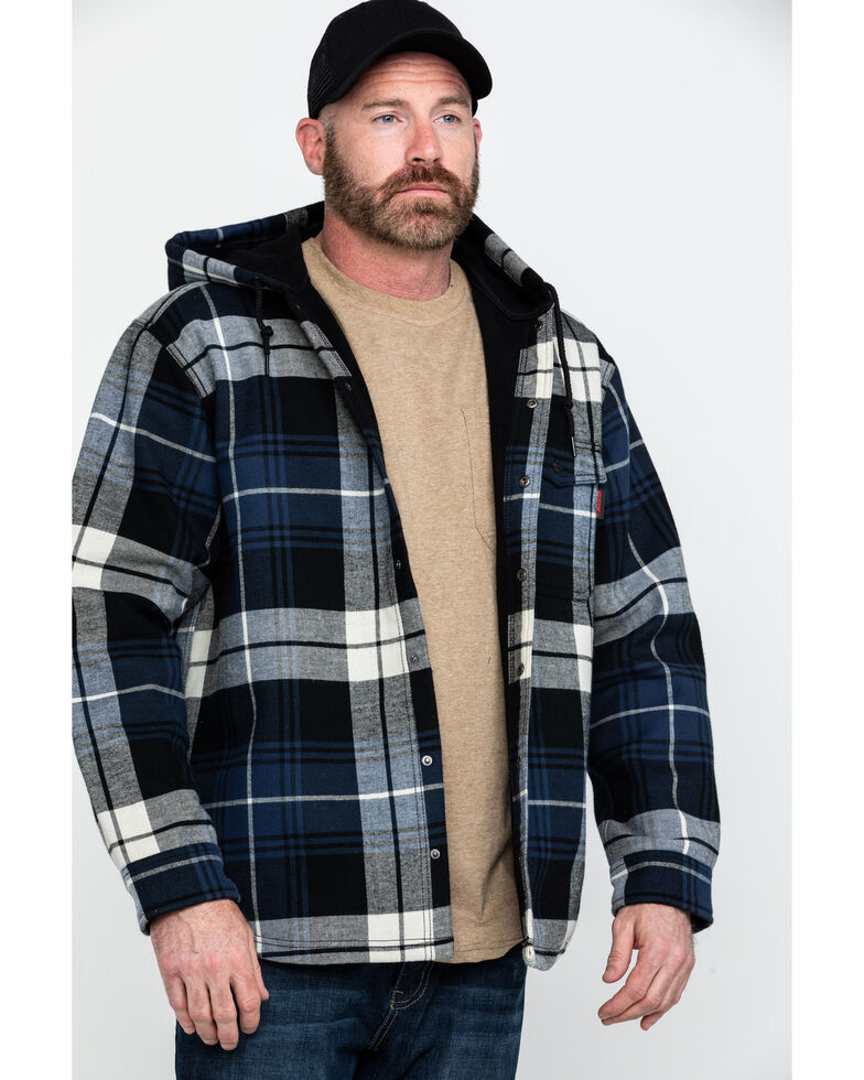 Wolverine Men's Buckshaw Plaid Bonded Hooded Shirt Work Jacket , Blue, hi-res