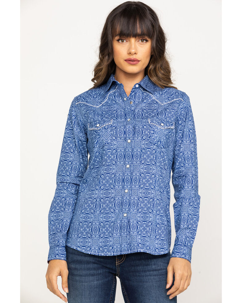 Rough Stock by Panhandle Women's Blue Vintage Print Long Sleeve Western Shirt, Blue, hi-res