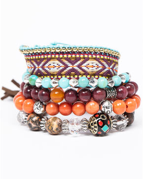 Shyanne Women's Isla Jane Multi-Colored 5 Piece Stretch Bracelet Stacks, Multi, hi-res