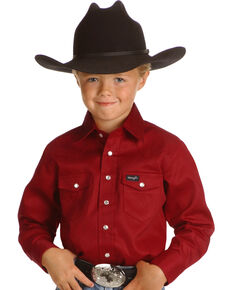 Wrangler Boys' Red Western Shirt - 2-20, Red, hi-res