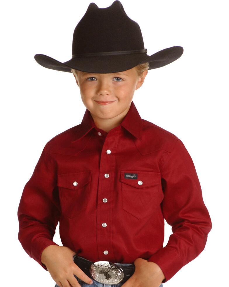 Wrangler Boys' Red Western Shirt - 2-20, Red, hi-res