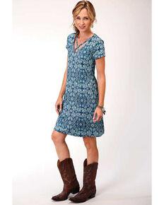 Studio West Women's Criss-Cross Paisley Short Sleeve Dress, Blue, hi-res
