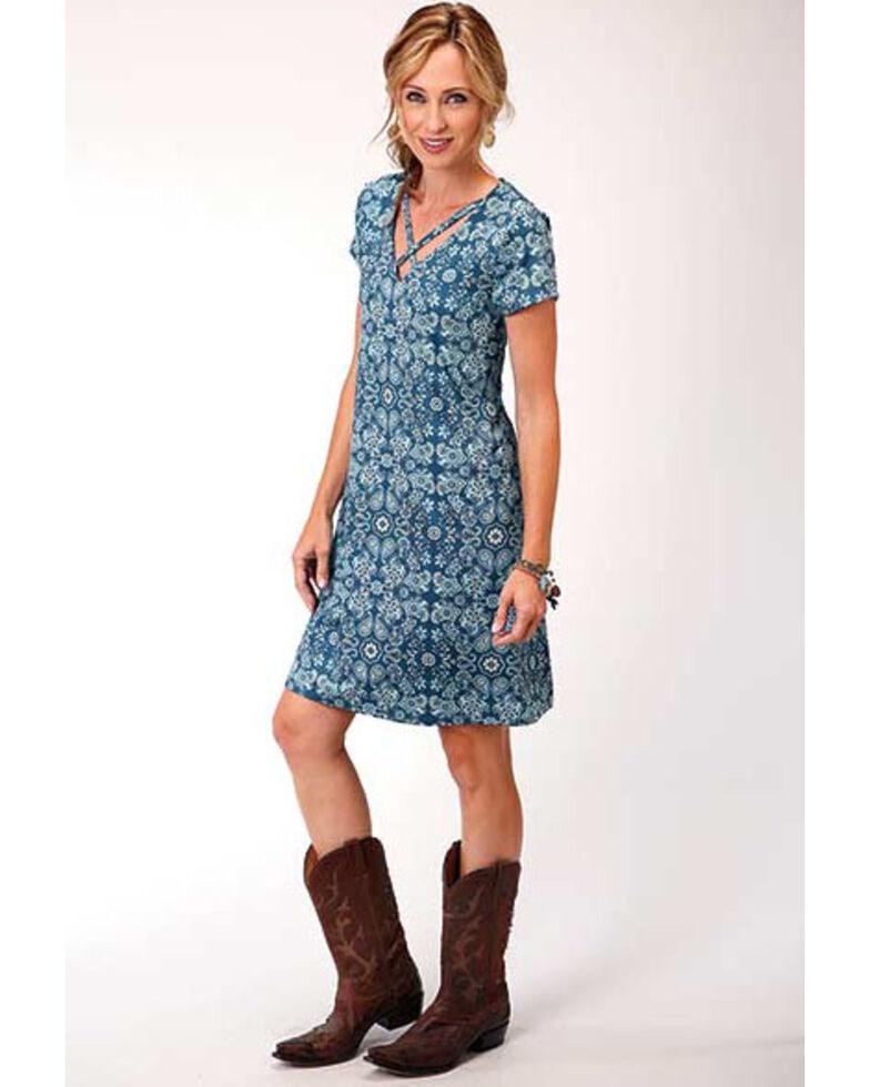 Studio West Women's Criss-Cross Paisley Short Sleeve Dress, , hi-res