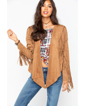 Vocal Women's Faux Suede Camel Fringe Jacket, Camel, hi-res