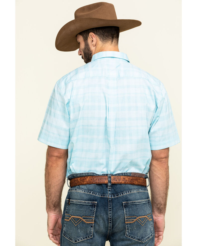 Ariat Men's Neptune Solid Short Sleeve Western Shirt , Blue, hi-res