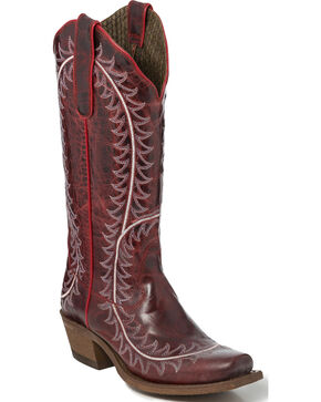 "Nocona Women's 13"" Red Vail Goat Cowgirl Boots - Square Toe, Red, hi-res"