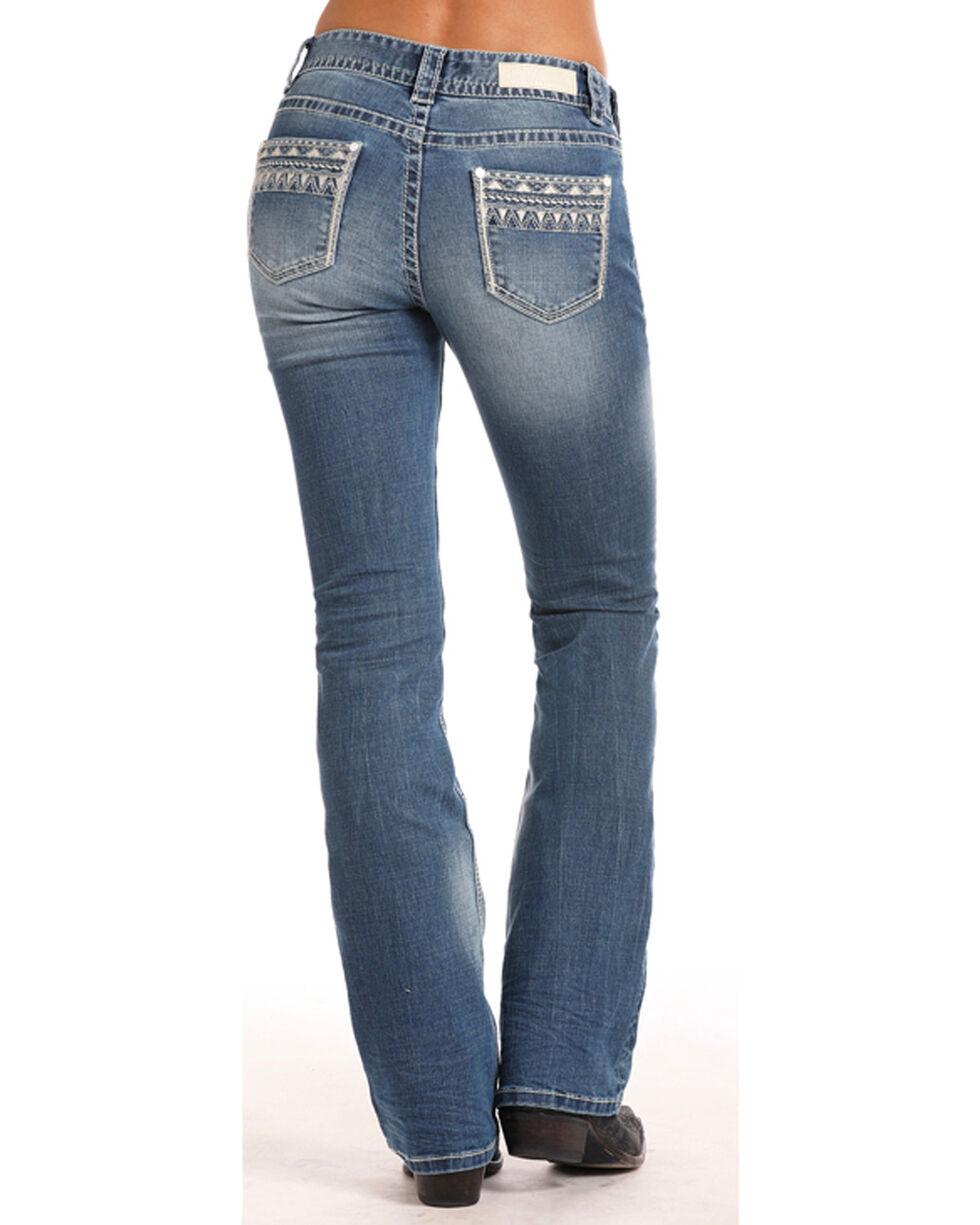 Rock & Roll Cowgirl Women's Aztec Border Mid Rise Jeans - Boot Cut, Indigo, hi-res