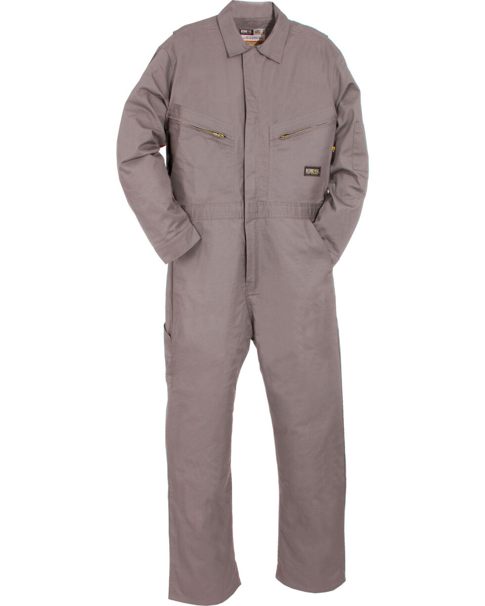 Berne Men's Flame Resistant Deluxe Coveralls - Big (56R - 60R), Grey, hi-res