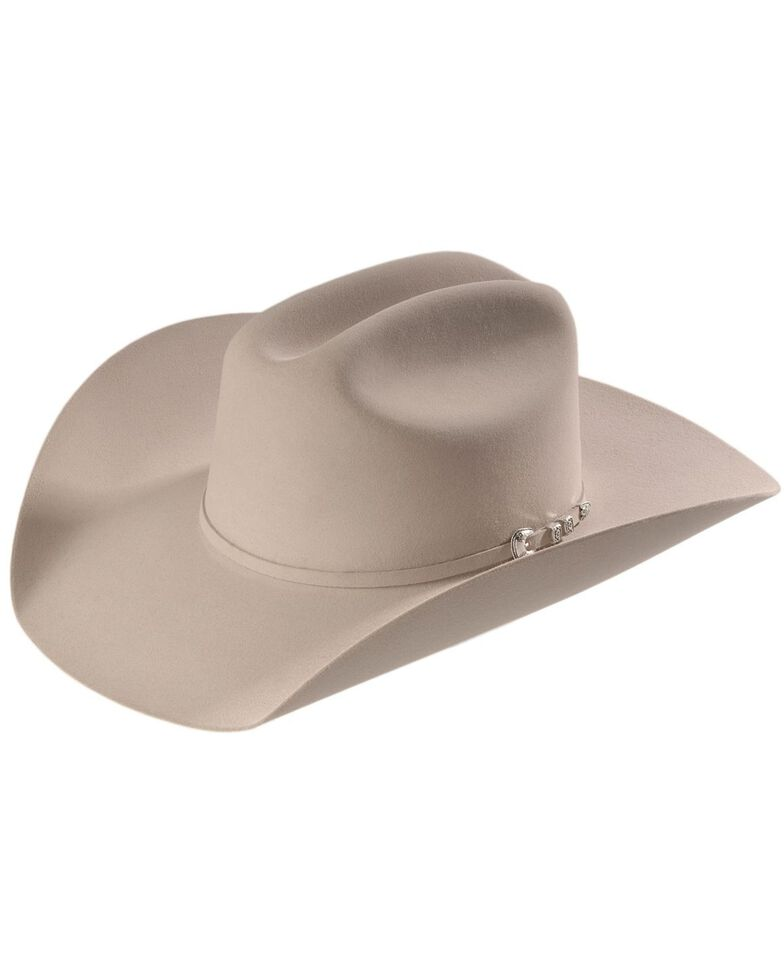 Stetson Men's 6X Bar None Fur Felt Western Hat, Silverbelly, hi-res