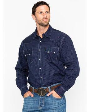 Cinch Men's Geo Print Snap Long Sleeve Western Shirt , Navy, hi-res