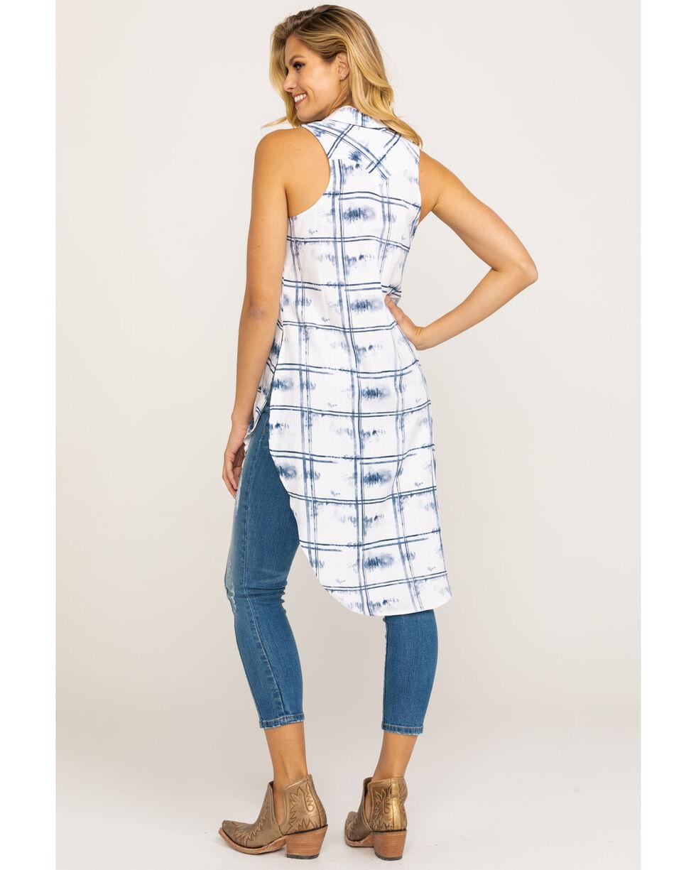 Shyanne Women's Washed Plaid Button Down Vest , Blue, hi-res