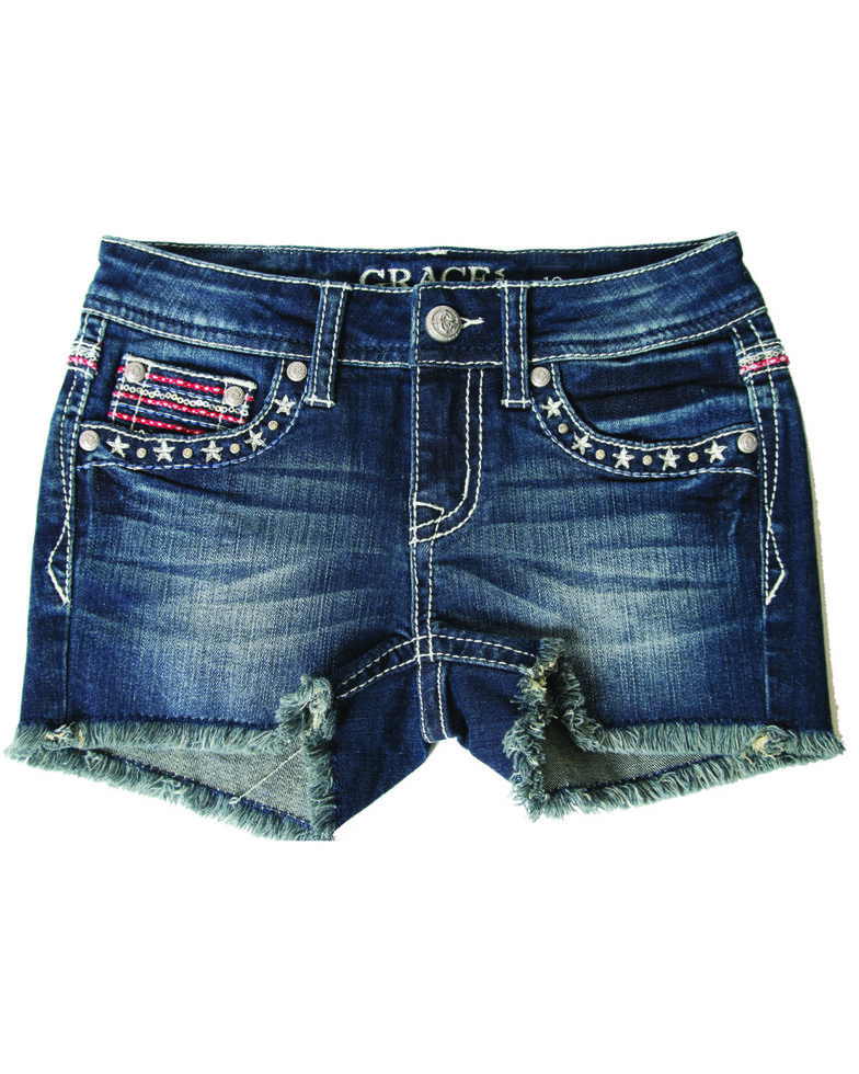 Grace In LA Girls' Dark Wash Americana Back Pocket Stretch Denim Shorts , Blue, hi-res