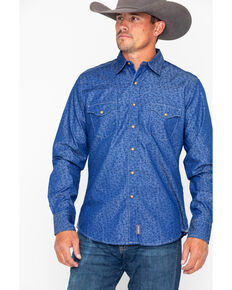 Wrangler Retro Men's Blue Floral Geo Print Long Sleeve Western Shirt, Blue, hi-res